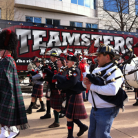 International Association of Fire Fighters Bagpipe and Drum Core Parade Outside of Capitol