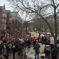 Students gathering in Library Mall